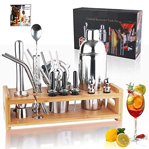 Yoassi Set Cocktail 24 Pezzi, Cocktail Shaker Kit da Barista in Acciaio Inox, 750ml Shaker con Accessori, Cocktail Set con Supporto di bambù, Bartender Kit Completo, Ricette