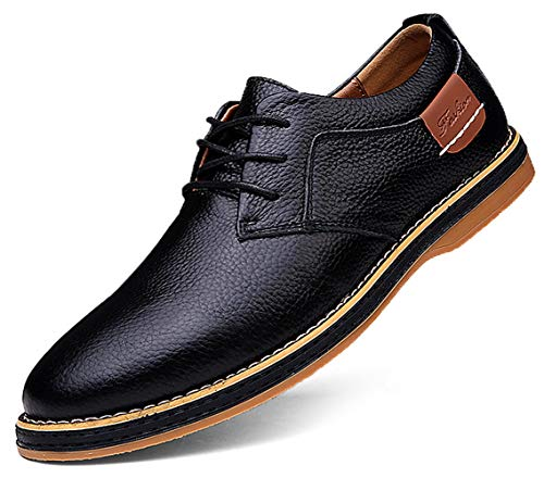 TSIODFO Men's Dress Shoes Black Brown Genuine Cow Leather Oxfords Business Casual Shoes Size 11 (6111-black-45)