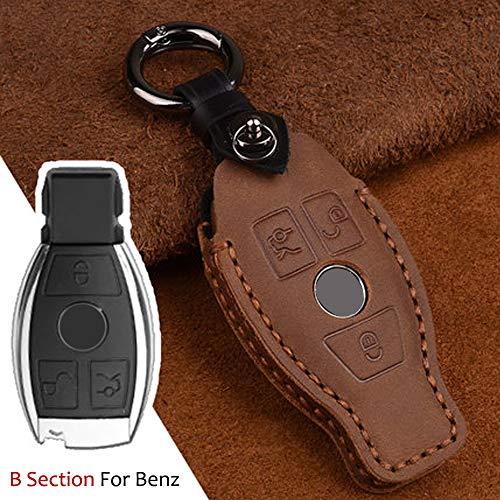 Funda protectora para llave de coche Mercedes-benz W210 W211 W212 W124 W176 W202 W205 3 botones de cuero inteligente llave de entrada sin llave (marrón)