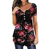 N\P Camisetas de mujer Casual más tamaño O-cuello flores sueltas botón túnica