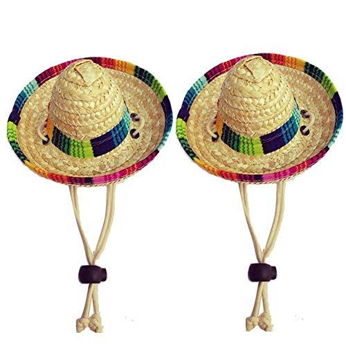 Wankd Dog Sombrero Hut, Mini Straw Sombrero Hüte Mexikanische Hüte Sombrero Party Hüte Hunde Sonnenhut für Hunde und Katzen Funny Dog Costume Kleine Haustiere Welpen Katze (2PCS, Baumwolle)