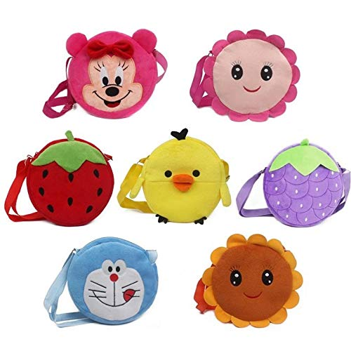 FENGHE Plush Toys Sunflower 7pcs/lot Cute Plush Shoulder Bag Strawberry Sunflower Duck Pokonyan Toys Kids Handbags Cartoon Mini Satchel