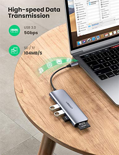 UGREEN USB C Hub, USB C HDMI Adapter 6 in 1 Type C Hub with 4K USB C to HDMI, SD TF Card Reader, 3 USB 3.0 Ports for MacBook Pro Air 2020/2019/2018, Galaxy Note 10 S10 S9 S8, Chromebook, XPS Aluminum