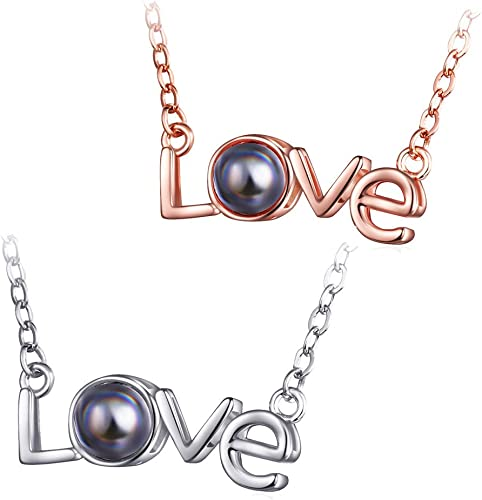lowest OPTIMISTIC 100 outlet online sale Languages I Love You Necklace Loving Memory Moon Evil Eye Lock Word Love Pendant Necklace wholesale Jewelry Gift for Her, Alloy Necklace for Women outlet sale