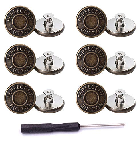 ICEYLI 12 Pcs Replacement Jean Buttons,20mm No-Sew Nailess Removable Metal Buttons Replacement Repair Combo Thread Rivets and Screwdrivers, Fits to Any The Cowboy Clothing Jackets Pants Bags