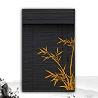 XZ15 バランスを持つ竹の色合い、窓やドアのためのブラインドを巻き上げるブラック、80/90/120 / 160cm幅 (Color : A, Size : 85X150CM)
