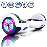 Huanhui Hoverboard, 6,5' Overboard Elettrico, Self Blance Scooter 2 * 300W Motore Glyboard Elettrico Smart Self Balance Board, Luce a LED, Bianca