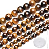 148 Pieces Natural Tiger Eye Beads Round Tiger Eye Gemstone Beads 3 Sizes Crystal Stone Loose Beads with Beading Needle and Stretch Cord for Jewelry Making, 3 Strands, 6 mm, 8 mm,10 mm (Yellow)