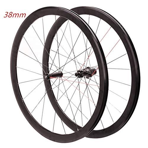 LSRRYD Rennrad Laufradsatz 700C Vorder- Und Hinterräder Alu-Doppelwandfelgen Abgedichtetes Lager C/V-Bremse QR 8 9 10 11S Kassette (Color : Black)