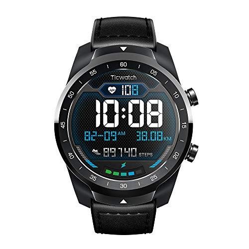 TicWatch Pro 2020 スマートウォッチ 1GB RAM Wear OS by Google バッテリー長持 マイク搭載 着信 通話機能 日本語対応 GPS LINE通知 心拍計 IP68防水 iOS android iphone 対応 メンズ ブラック