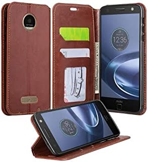 Moto Z Force Droid Case - Wydan Leather Wallet Style Case Folio Flip Foldable Kickstand Credit Card Slot Style Phone Cover - Brown