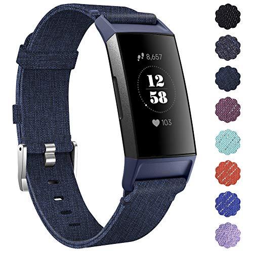 KIMILAR Armbanden compatibel met Fitbit Charge 3 / Charge 4 Bandje Stof, Snelspanner Nylon Reserveband voor Fitbit Charge 4 & Charge 3 & SE Fitness Tracker