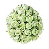 T4U Rose Artificielle Bouquet de Fausse Fleur - 36pcs Verte, Fleurs Réalistes Artificielles Interieur Tige Feuille Ajustable Touche Réelle Déco Mariage Restaurant Maison Anniversaire Chambre Table