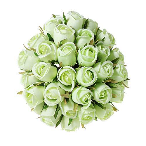 T4U Künstliche Rosen Kunstblumen Strauß Seide Grün 36er-Set für Wohnung Hochzeit Hotel Restaurant Deko