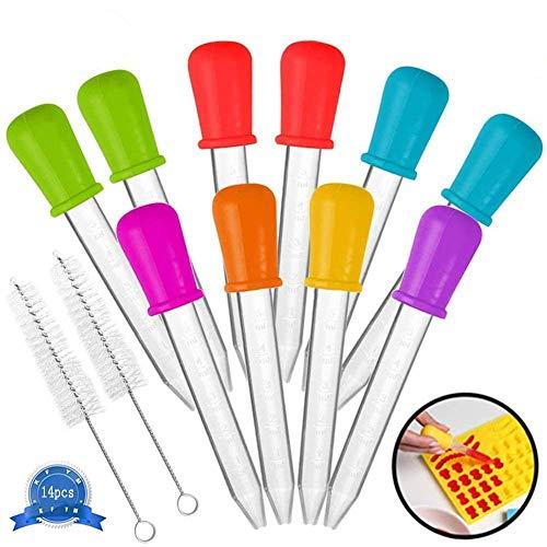 AMZSUPER ERA cersaty®Pipette Silikon Birne Spitze Liquid Dropper 5ml 7 Farben Pipetten Für Süßigkeiten Öl Küche Kinder Gummy Making - 14 pcs