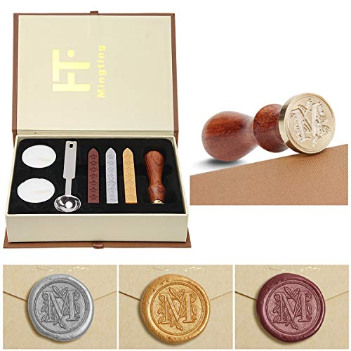 Wax Seal Stamp Kit,Mingting Classical Old-Fashioned Antique Wax Stamp Seal Kit Initial Letters Alphabet Set Gift Box with Vintage Wooden Handle and Brass Color Head (M)