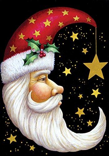 Toland Home Garden Santa Moon 28 x 40 Inch Decorative Winter Christmas Holiday Celestial Star House Flag
