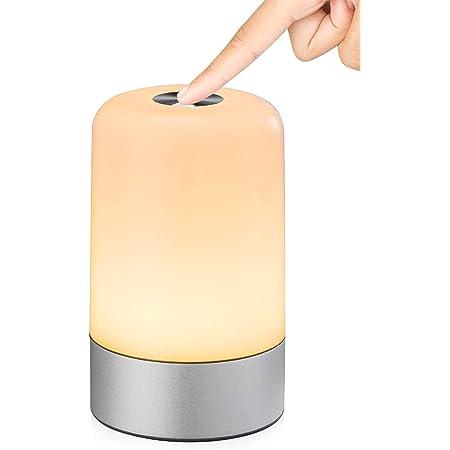 Veilleuse LED, Lampe Nuit Tactile avec 13 Couleurs Changeantes, Lampe de Table Rechargeable avec Lumière Blanche Chaude pour Chambre à Coucher, Salle de Bébé et Salon (Silver-1)