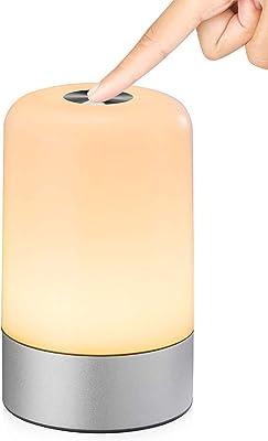 MIAROZ Lámpara de Mesa, Regulable Lámpara de Noche de Atmósfera con Sensor de Tacto, Lámpara de Tabla de Decoración con Modo RGB y Luz Blanca Caliente, 256 Luces de Color (Plateado-1)