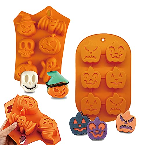 2PCS Halloween Silicone Baking Molds, Ghost Pumpkin Nonstick Silicone Chocolate Cake Cookies Pudding Wafer Molds, DIY Halloween Bat, Skull for Christmas Halloween Party