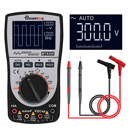 MUSTOOL Updated MT8206 2 in 1 Intelligent Digital Oscilloscope Multimeter AC/DC Current Voltage Resistance Frequency Diode Tester with Analog Bar Graph