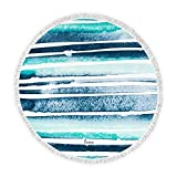 Weddingstar Personalized Round Beach Towel 59'- Blue and White...