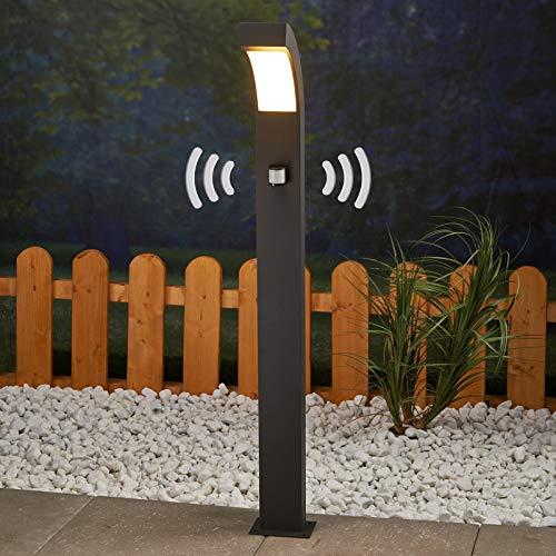 Lucande LED Außenleuchte 'Lennik' mit Bewegungsmelder (spritzwassergeschützt) (Modern) in Schwarz aus Aluminium (1 flammig, A+, inkl. Leuchtmittel) - Wegeleuchte, Pollerleuchte, Wegelampe