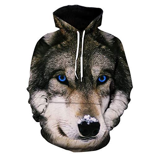 SSBZYES Suéter para Hombre Suéter con Estampado De Lobo Suéter Deportivo con Capucha Sudadera para Hombre Sudadera con Capucha Top