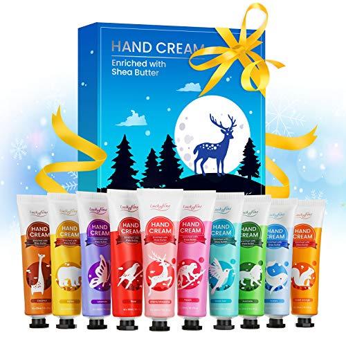 Crema de Manos Set de Regalo 10 pcs, Luckyfine Crema de Manos Nutritiva con Manteca de Karité Natural y Vitamina E, Loción de Manos Hidratante para Manos Secas, Mejor Regalo para Navidad