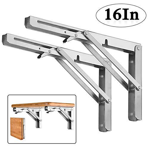 "Folding Shelf Brackets - Heavy Duty Stainless Steel Collapsible Shelf Bracket for Bench Table, Space Saving DIY Bracket, Max Load: 550lb (Long :16"", 2 PCS)"