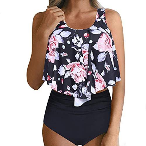 COZOCO Heisser UnterwäSche Frauen Grosse Badebekleidung Sexy Sonnenuhr Print Bikini Zwei StüCke Badeanzug Mit Hoher Taille Bottom Bikini Set RüSchen