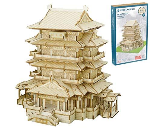 Paviljoen Van Prins Tengtengwang Pavilion, Chinese Oude Architectuur, 3D Driedimensionale Puzzel Puzzel DIY Jigsaws Modeluitrusting Mechanische Laser Cut Houten Bouw Puzzle