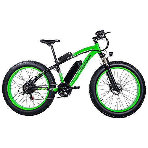GUNAI Bicicletas Electricas Neumaticos Bicicleta 26 Pulgada 1000w 48V 17AH Bateria Litio Frenos de Disco Bicicleta(Verde)
