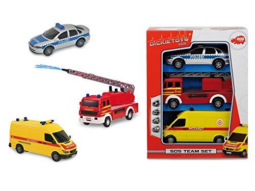 Dickie Toys 203712001 - S.O.S. Team Set, Spielset aus Rettungswagen, Polizei und Feuerwehrauto