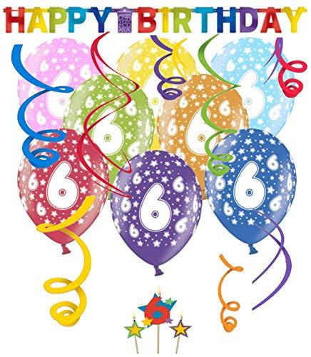 Libetui 6. Geburtstag Dekoration Deko-Set 6 Jahre Happy Birthday Bunte Partykette Girlande Luftballons und Geburtstags-Kerzen Kindergeburtstag 6