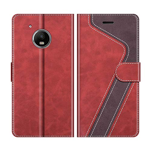 MOBESV Handyhülle für Motorola Moto G5 Hülle Leder, Motorola Moto G5 Klapphülle Handytasche Case für Motorola Moto G5 Handy Hüllen, Rot