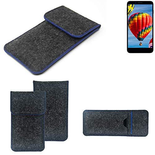 K-S-Trade Filz Schutz Hülle Für Vestel V3 5030 Schutzhülle Filztasche Pouch Tasche Hülle Sleeve Handyhülle Filzhülle Dunkelgrau, Blauer Rand