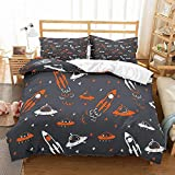NNDHYS Universe Duvet Cover Set Black Orange White Microfiber Spaceship Rockets Kids Home Comforter Cover Full Queen King Bedding Set Single(140x210cm)