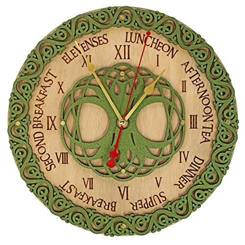 Celtic Meal Times Wooden Wall Clock unique Handcrafted home decor, personalized custom gift, housewarming design present, kitchen victorian vintage style, meal planning, living room decorative art