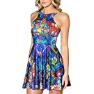 QZUnique Women's Cartoon Printed Stretchy Sleeveless Pleated Fit and Flare Skater Dress