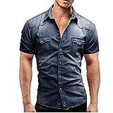 Jinyuan Camisa De Hombre De Moda Camisa De Mezclilla con BotóN Delgado para Hombre Casual Camisa De Manga Corta para Hombre con Bolsillos Azul Marino XL