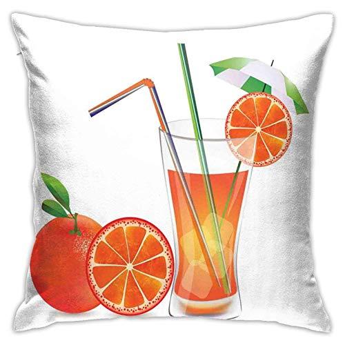 baoan Funda de cojín para cojín, vaso de zumo de naranja con frutas con coloridos popotes de verano, 45,7 x 45,7 cm