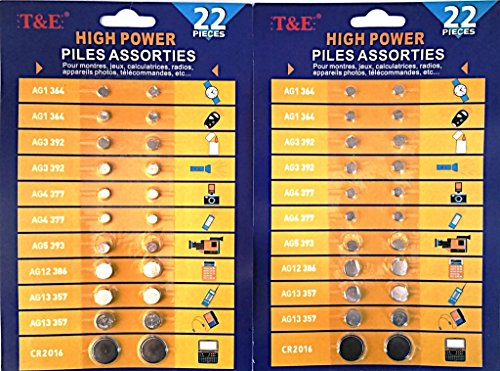 Button Cell Batteries (Pack of 44 Assortment)