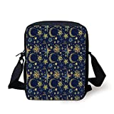 Modern,Starry Sky with Crescent Moon Night Astronomy Space Cosmos Design,Dark Brown Yellow Lime Green Print Kids Crossbody Messenger Bag Purse