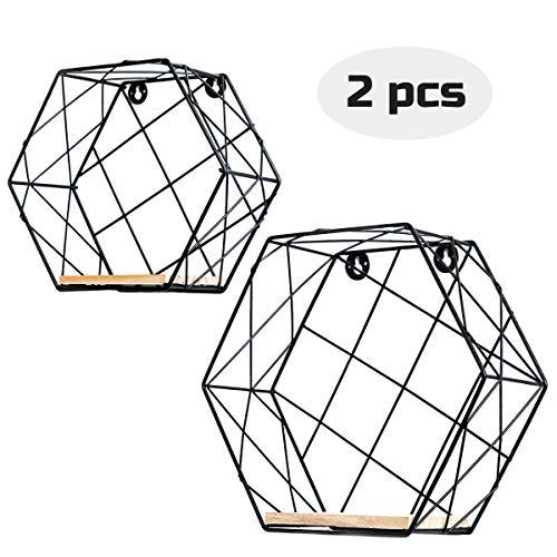 Infinite Node Schweberegale An der Wand befestigte Metalldraht Kunst Hexagon Regale mit rohem Holz für Anzeige, Haus Dekoration Wandregale 2er Set (Schwarz, Gitter)