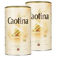 Caotina blanc, Poudre de Cacao avec du Chocolat Blanc Suisse, Chocolat Chaud, Lot de 2, 2 x 500g
