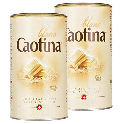 Caotina blanc, Kakao Pulver mit weißer Schweizer Schokolade, heiße Schokolade, Trinkschokolade, 2er Pack, 2 x 500g
