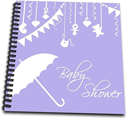 """3dRose db_120278_3 Lilac Purple Baby Shower for Baby Girl or Gender Unknown Neutral Stylish Modern Elegant Mini Notepad, 4 by 4"""""""
