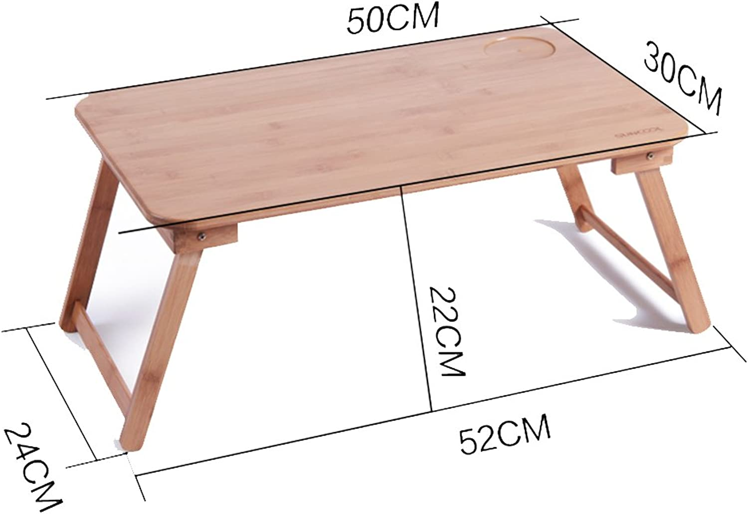 PENGFEI Laptop Computer Stands Portable Standing Desk Lapdesks Solid Wood Multifunction Foldable Bed Dining Table Bamboo, Wood color 5 Size (color   50x30CM Fixed Legs)