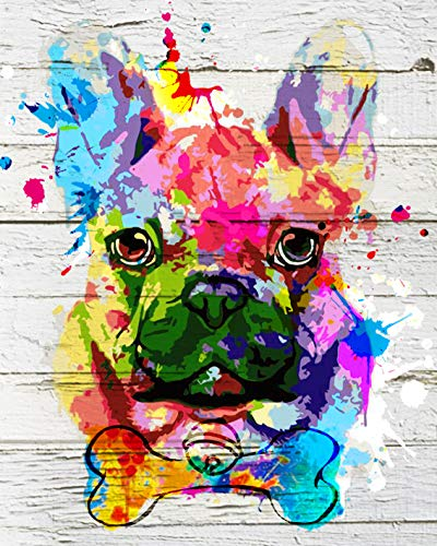 TUMOVO Paint by Numbers for Adults Beginner, Animal DIY Oil Painting Paint by Number Kits, 16'x20' Cute Dog Paint by Numbers with Acrylic Pigment, Arts Craft for Wall Decor - Colorful Dog(Frameless)